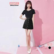 Chân váy chữ A GINDY đen viền chỉ nổi 5 cúc phong cách công sở thanh lịch hàng thiết kế V5102 thumbnail