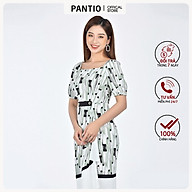 Đầm công sở chất liệu Lụa in họa tiết dáng xòe ngắn tay FDC52758 - PANTIO thumbnail