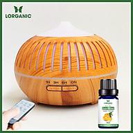 Combo máy khuếch tán máy xông tinh dầu Lorganic hình Bí Sọc FX2068 + tinh dầu cam hương Lorganic (10ml) - Có remote điều khiển Phun sương sóng siêu âm thumbnail