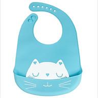 Yếm Ăn Dặm Silicon Không Thấm Nước, Hình Mèo, Nhiều Màu Sắc thumbnail