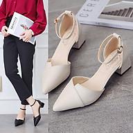 Giày cao gót đế vuông xếp mũi 5 phân phong cách Hàn Quốc a11 thumbnail