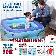 Bể bơi phao thành cao 3 tầng có đáy chống trượt, bể bơi cho bé tại nhà tập bơi có van xả nước (BẢO HÀNH 1 ĐỔI 1) thumbnail