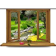 Tranh dán tường cửa sổ vườn cây ép lụa kim sa có sẵn keo CS79 thumbnail