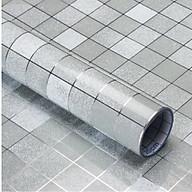 5 mét decal giấy dán bếp tráng nhôm Ô VUÔNG NHỎ khổ 45cm màu bạc thumbnail