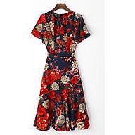 Đầm Nữ VIGO Dáng Xòe- Họa Tiết Hoa Đỏ thumbnail