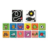 Combo Kích thích thị giác 02 cuốn Boardbook Vừa chạm vừa chơi, vừa chạm vừa tưởng tượng + 12 cuốn sách vải kích thích thị giác thumbnail