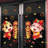 Decal dán tường, dán kính trang trí Tết Tân Sửu- Trâu vàng đón tết- mã sp QR209132 thumbnail