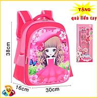 Balo cho bé gái mầu hồng màu tím hình công chúa 3D phẳng (Tặng bộ dụng cụ combo 6 món) E121 thumbnail
