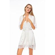 Dreamy-CD02-06-FS- Áo choàng ngủ lụa cao cấp, áo choàng ngủ lụa, áo choàng ngủ phối ren tinh tế màu trắng thumbnail