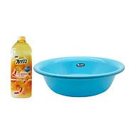 Combo Chậu rửa mặt 4,5L màu xanh + Nước rửa bát cao cấp đậm đặc nội địa Nhật Bản thumbnail