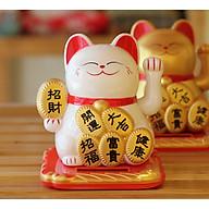 Mèo may mắn vẫy tay năng lượng mặt trời đính miếng vàng tài lộc phú quý an khang thịnh vượng phát tài như ý (Trắng) thumbnail