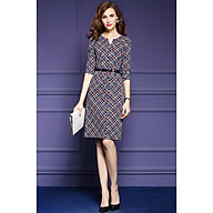 Fashion slim single-breasted lace-up plaid dress thumbnail