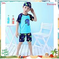 Bộ Đồ Bơi Khủng Long Xanh Dành Cho Bé Trai CaoTừ 85cm - 125cm chất vải Polyeste thân thiện với trẻ em - Tặng kèm nón bơi vải cùng màu - Xanh - M thumbnail