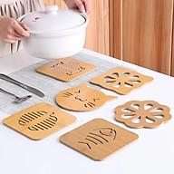 Set 6 miếng lót cốc gỗ không kèm kệ gỗ thumbnail