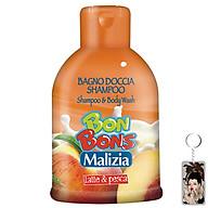 Sữa tắm gội trẻ em Malizia Bon Bons đào và sữa tươi 500ml tặng kèm móc khóa thumbnail