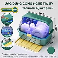 Tủ đựng bát đĩa khử trùng bằng tia UV giúp diệt 99,9% vi khuẩn - Giá úp bát có nắp đậy chống bụi bẩn HÀNG CHÍNH HÃNG thumbnail