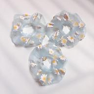Combo 3 dây buộc tóc Scrunchies hoa cúc. (Tặng kèm kẹp tóc ngẫu nhiên) thumbnail