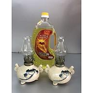 Combo 2 chiếc đèn dầu men rạn vẽ sen (tặng kèm 1 chai dầu 500ml) - TL47 thumbnail