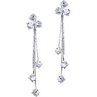 Bông tai nữ bạc Hoa pha lê khuyên dài thumbnail