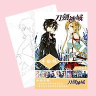 Tranh tô màu Sword Art Online Đao kiếm thần vực tập bản thảo phác họa anime manga chibi tặng thẻ Vcone thumbnail