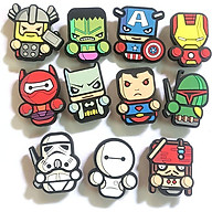 Combo 11 cái Sticker Jibbitz, nút gắn dép sục, dép cá sấu, hình siêu anh hùng thumbnail