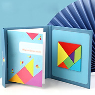 Bộ sách đồ chơi giáo dục trẻ em lắp ráp hình theo mẫu giải câu đố bằng gỗ sách sáng tạo từ tính tangram - Dành cho trẻ từ 3 tuổi thumbnail