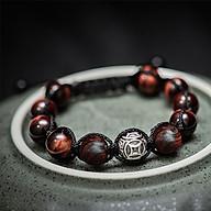 Vòng tay phong thủy thời trang handmade đá mắt hổ đỏ và gỗ sưa đỏ kim ngân thần tài dây đan shamballa phật giáo thumbnail