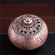 Đỉnh trầm hương-Lư xông trầm hợp kim mạ đồng - nắp hoa văn cổ MB02 thumbnail