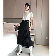 Chân váy xếp ly kèm đai túi da QC thumbnail