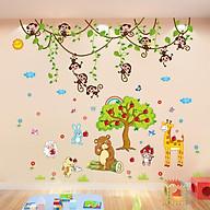 Combo 2 decal dán tường khỉ đu dây và vườn táo cho bé + Tặng stick bất kì thumbnail