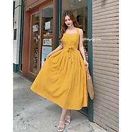 Đầm Maxi Vàng 2 Dây Chéo Lưng Xếp Ly Nhiều Mảnh thumbnail