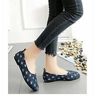 Giày lười nữ vải jean đế bệt thumbnail