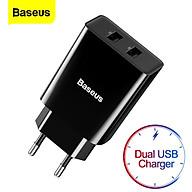 Bộ sạc 2 cổng USB Baseus Speed mini Dual U Travel Charger 10.5W (2 cổng USB, 10.5W, 2.1A Max) - Hàng chính hãng thumbnail