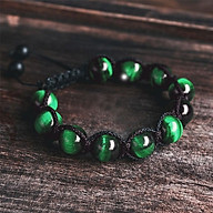 Vòng tay thời trang phong thủy handmade đá xanh lá shamballa thumbnail