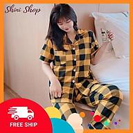 Bộ pyjama cho nữ, chất liệu thô mềm, thoáng mát, mẫu mới năm 2021 thumbnail