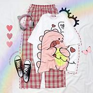Đồ bộ nữ quần caro kate ống rộng phối áo thun nữ form rộng tay lỡ nhiều mẫu Freesize Molly Urban thumbnail