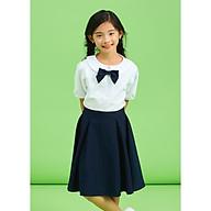 Áo sơ mi đồng phục học sinh nữ tay viền, cổ tròn, có nơ ngực, chất liệu cotton Nhật rất mát DPG008 thumbnail