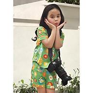 Pijama bé gái hình thú màu xanh vàng đỏ thumbnail
