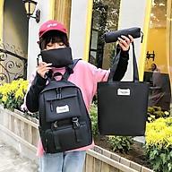 Balo thời trang, balo đi học, đựng laptop Balo Set 4 Món Thời Trang 2 Khoá Cute balo nữ vải học thời trang Cặp- Balo sinh viên học sinh đa năng thumbnail