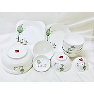 Bộ đồ ăn gốm sứ cao cấp 11 món bát, đĩa, tô, chén gốm sứ - cây xanh 2 thumbnail
