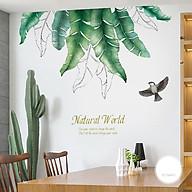 Decal trang trí chất liệu PVC loại 1 dày dặn, sắc nét, trang trí phòng khách, quán cafe- Tán lá chuối- mã sp QR2020 thumbnail