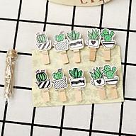 SET 10 Cái Kẹp Gỗ Sơn Design Pub hình Cây xương rồng (Tặng 1,5m dây cói) thumbnail