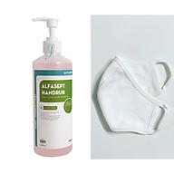 (COMBO QUÀ TẶNG) Dung dịch rửa tay sát khuẩn nhanh Alfasept Handrub 500ml + Khẩu trang vải cao cấp thumbnail