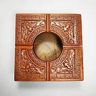 Gạt tàn gỗ hương vuông trạm khắc hoa văn tinh xảo thumbnail