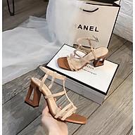 Giày cao gót nữ đế khoét lỗ cá tính, sandal giày cao gót nữ hở mũi chuẩn size 35-40 màu kem và đen gót cao 7p thumbnail
