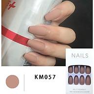 Bộ 24 móng tay giả màu da đơn sắc(R057) tặng kèm thun lò xo cột tóc màu đen tiện lợi thumbnail