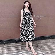 Đầm suông nữ,váy suông nữ sát nách hoa cúc nhí vintage siêu mát điệu đà thumbnail