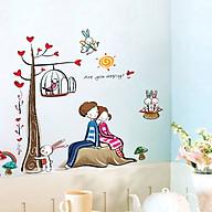 Decal dán tường hai bé tình nhân tựa lưng ay924 thumbnail