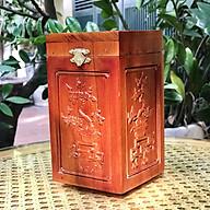 Hộp đựng trà chữ Phúc gỗ hương trạm Tứ Quý thumbnail