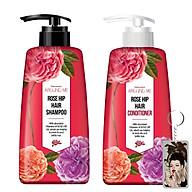 Cặp dầu gội - dầu xả hoa hồng Around Me Rose Hip Hair Hàn Quốc 2x500ml + Móc khóa thumbnail